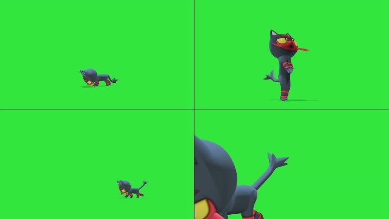绿幕视频素材火斑喵