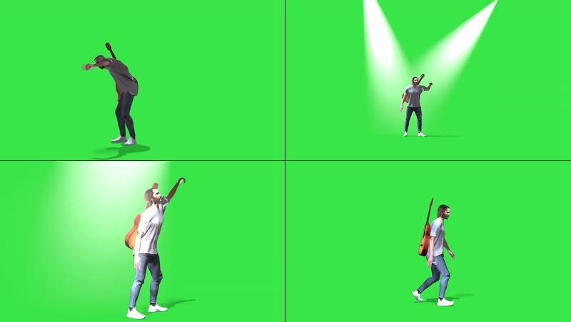 绿幕视频素材吉它歌手