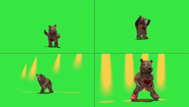 绿幕视频素材僵尸玩具熊
