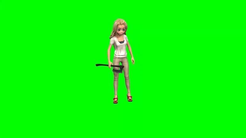 绿幕视频素材卡通女子