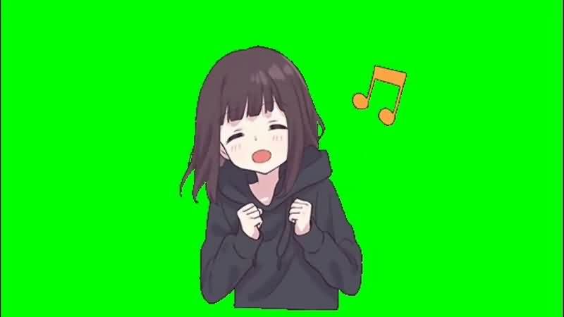 绿幕视频素材唱歌女孩