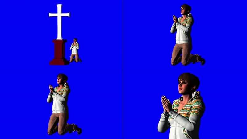 绿幕视频素材祈祷