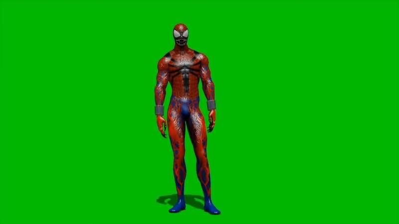 绿幕视频素材黑化蜘蛛侠