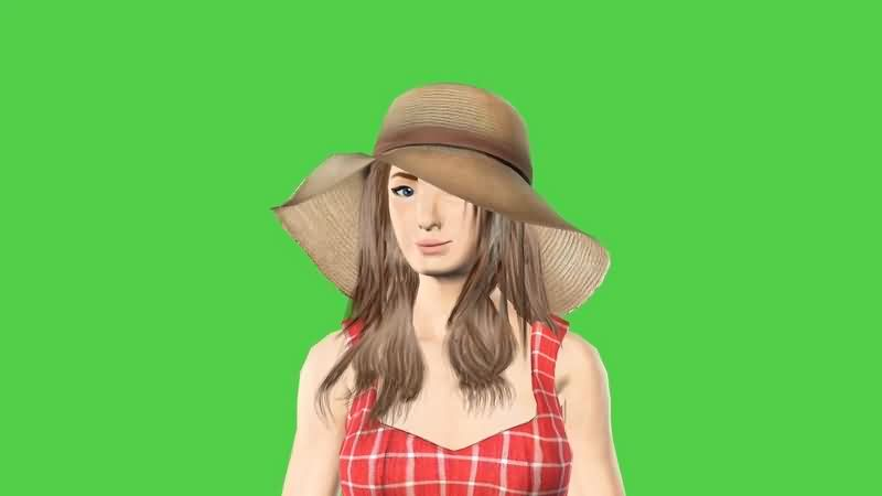 绿幕视频素材3D美女