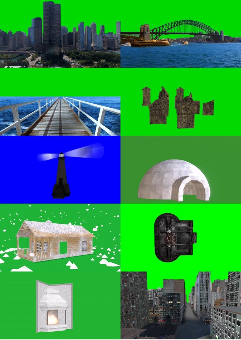 绿屏_绿布_绿幕建筑|房屋|高楼|桥梁|塔楼视频素材打包100部第一套