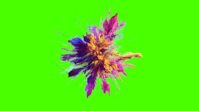 绿幕视频素材彩色烟雾爆炸