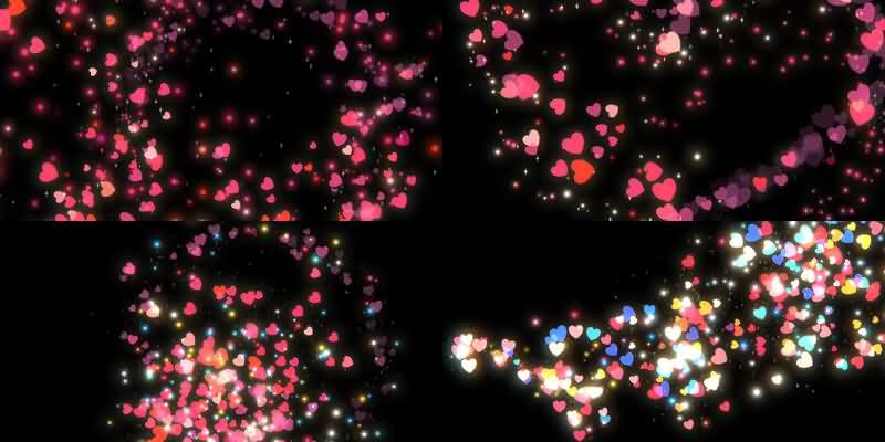 爱心粒子特效视频素材[4款]