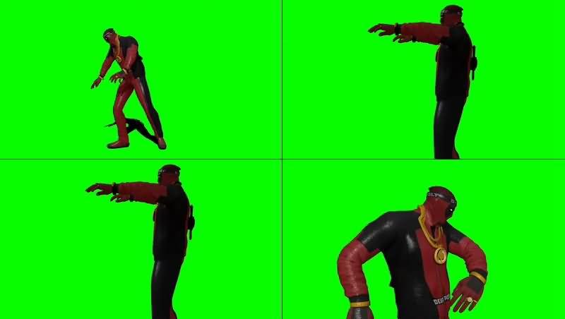 绿幕视频素材死侍之舞