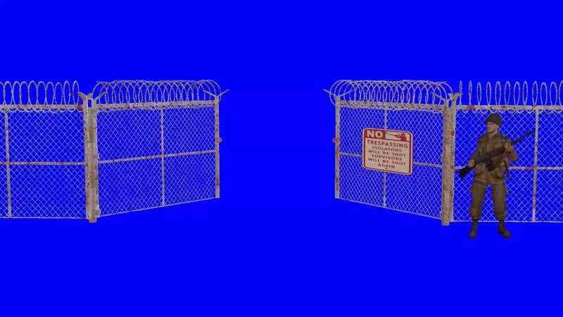 绿幕视频素材铁丝网门