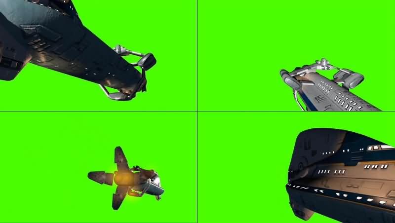 绿幕视频素材太空堡垒飞船