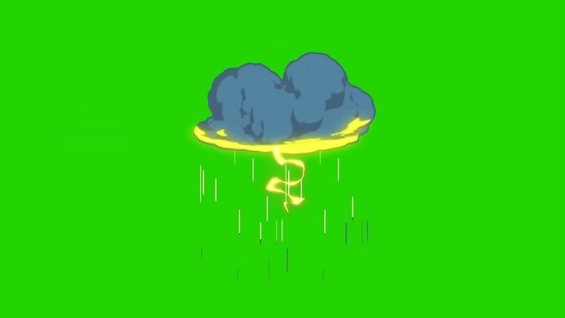 绿幕视频素材下雨乌云