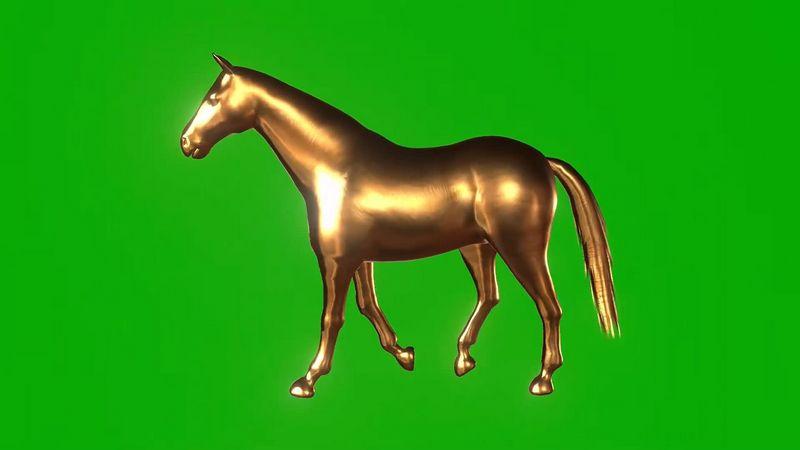 绿幕视频素材黄金马