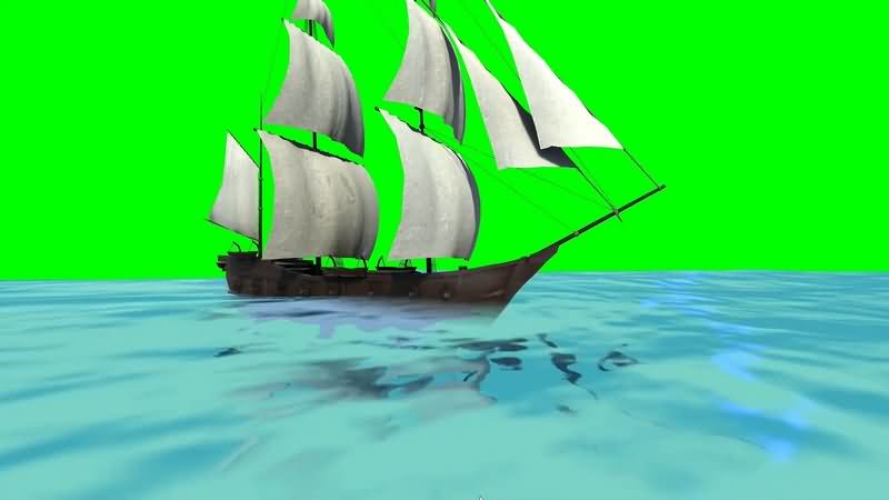 绿幕视频素材帆船