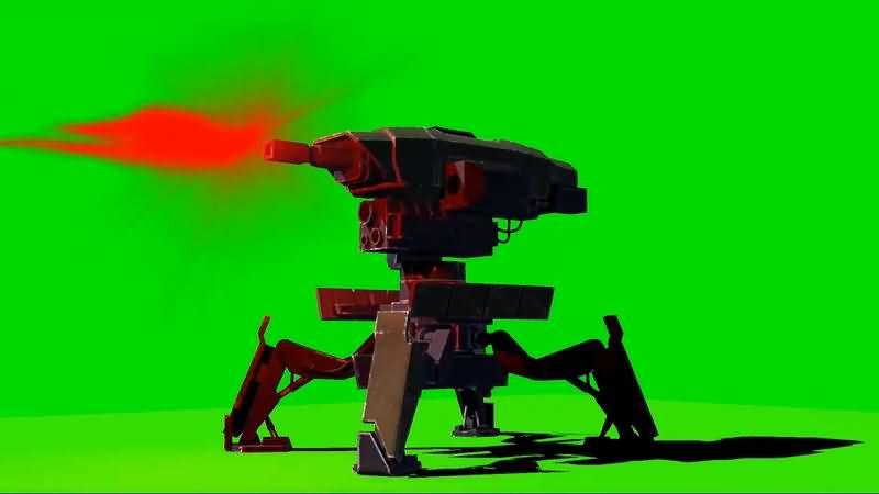 绿幕视频素材哨戒机枪