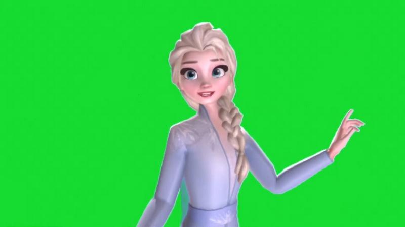绿幕视频素材冰雪奇缘艾莎