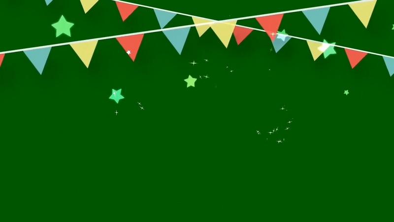 绿幕视频素材彩旗