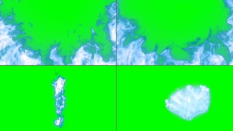 绿幕视频素材蓝色火焰