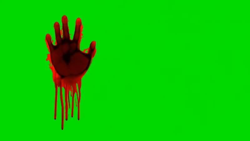 绿幕视频素材血手印