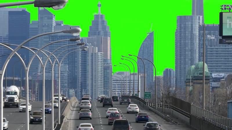 绿幕视频素材城市公路