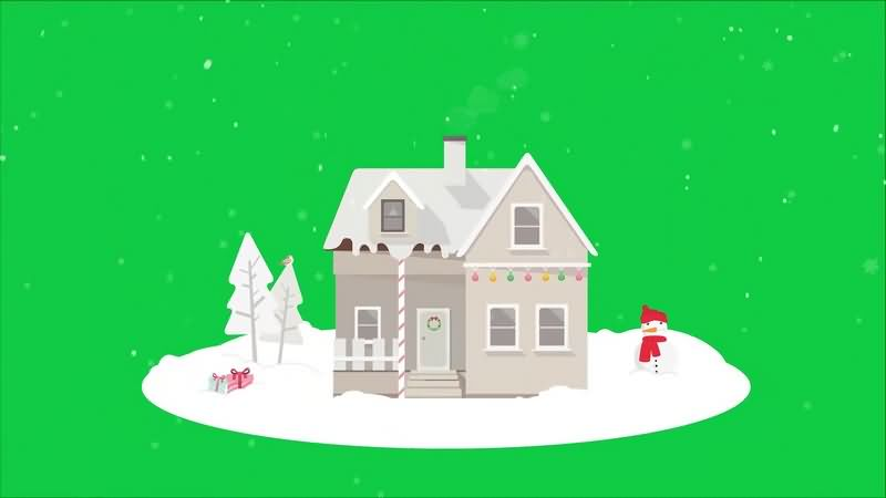 绿幕视频素材圣诞房子