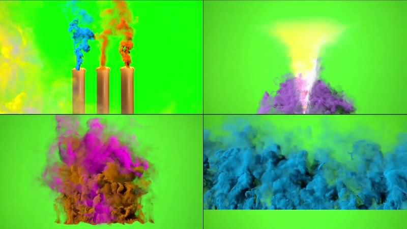 绿幕视频素材彩色烟雾