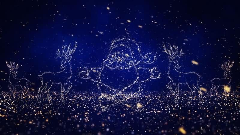 唯美粒子雪花圣诞老人轮廓视频素材[2个]
