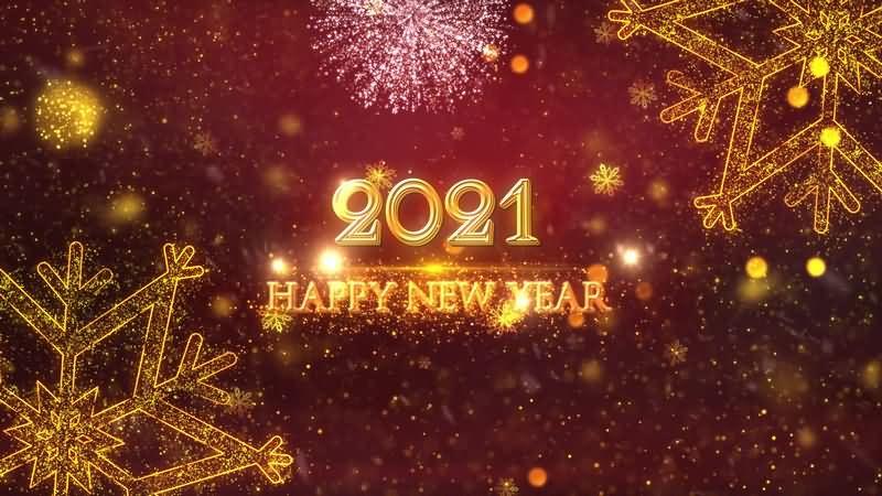 2021年金色雪花礼炮新年跨年开场动画视频素材