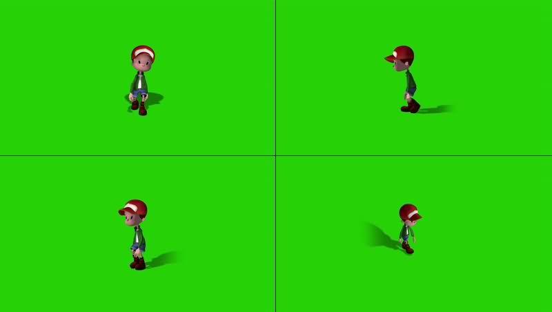 绿幕视频素材卡通男孩