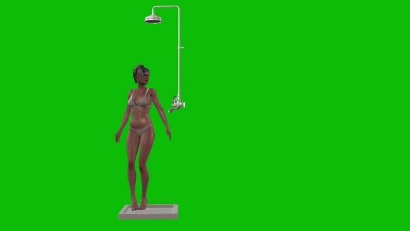 绿幕视频素材美女洗澡