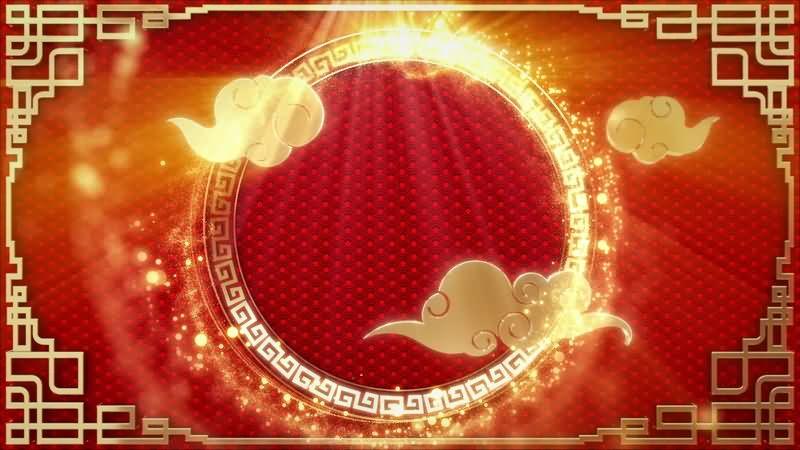 中国红喜庆金色窗棂祥云背景视频素材