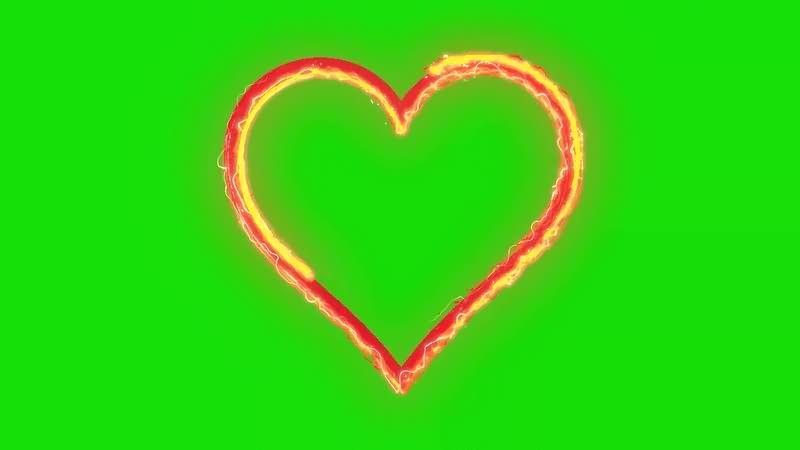 绿幕视频素材电流爱心