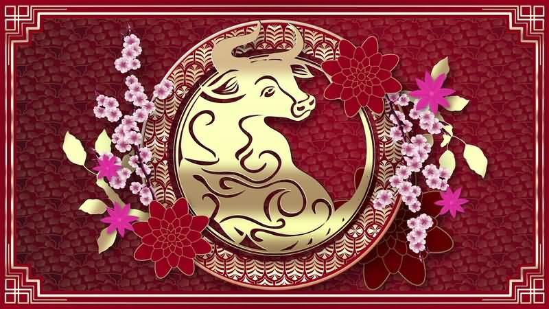 中国风金色生肖牛无缝循环视频素材