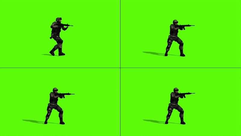 绿幕视频素材射击士兵