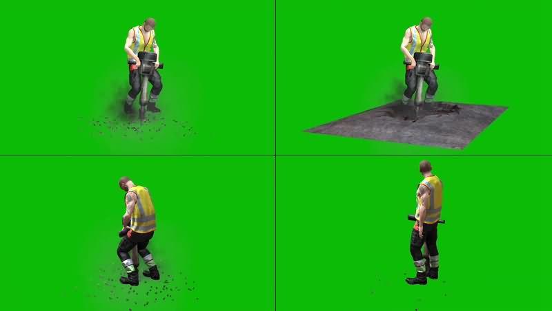 绿幕视频素材开采工人