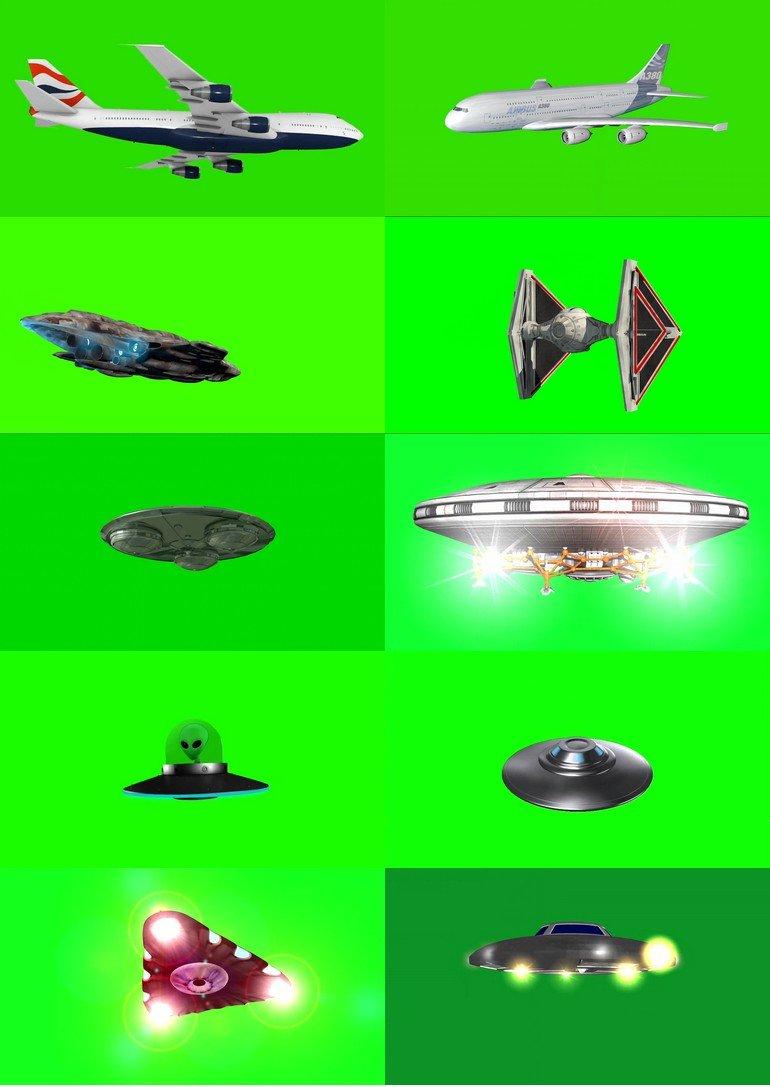 绿屏_绿布_绿幕飞机|战斗机|直升机|飞船|飞碟|飞行器视频素材打包100部第三套
