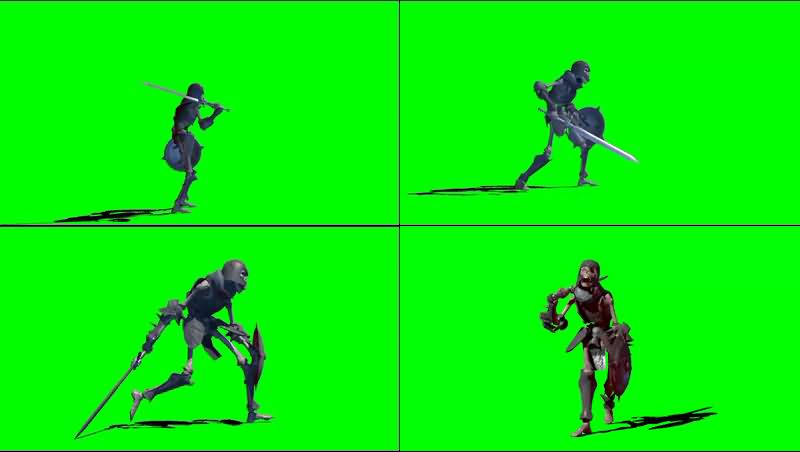 绿幕视频素材骷髅战士