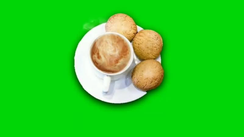 绿幕视频素材热茶饼干