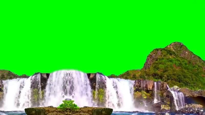 绿幕视频素材山水瀑布