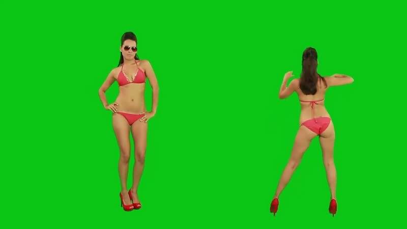 绿幕视频素材比基尼美女