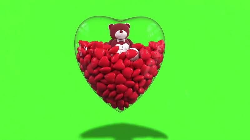 绿幕视频素材小熊爱心