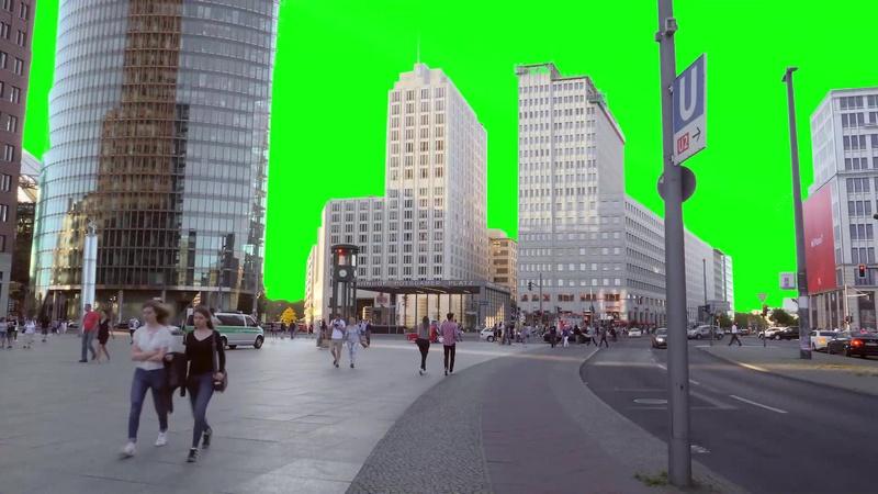 绿幕视频素材城市街道