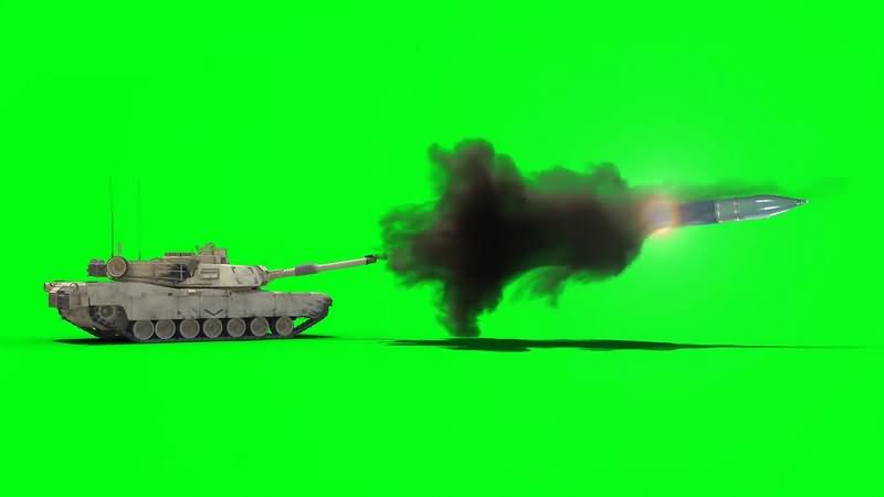 绿幕视频素材坦克开炮