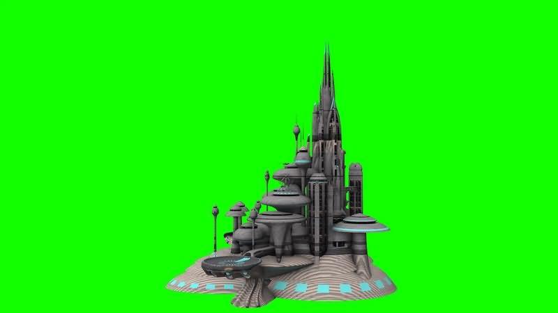绿幕视频素材未来城市