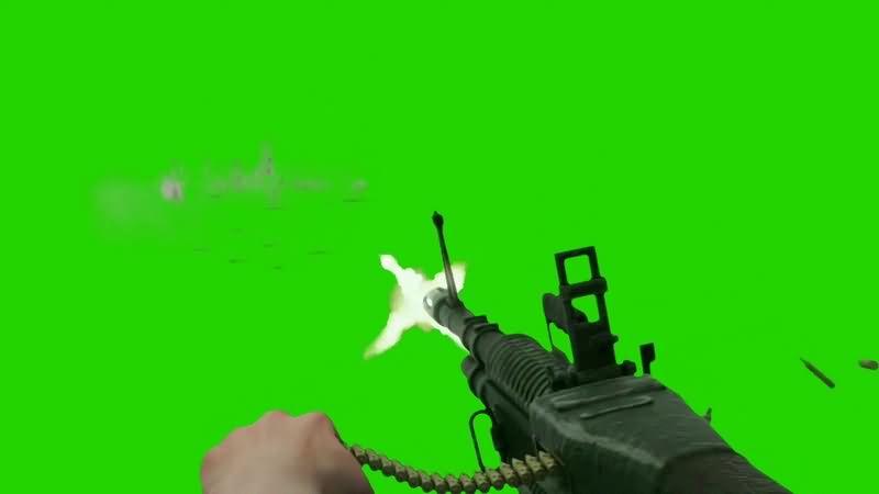 绿幕视频素材冲锋枪