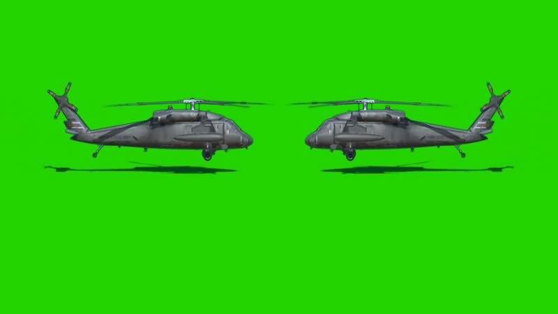 绿幕视频素材黑鹰直升机