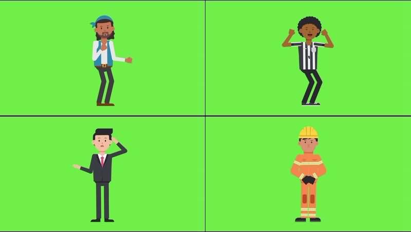 绿幕视频素材卡通人物
