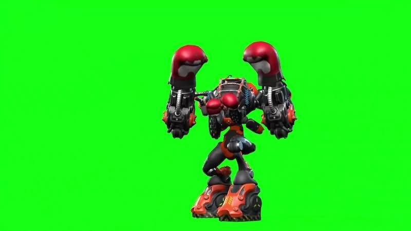 绿幕视频素材拳击机器人