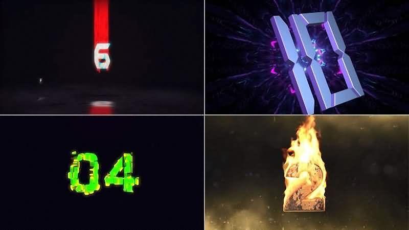 数字倒计时开场动画视频素材[4种风格]