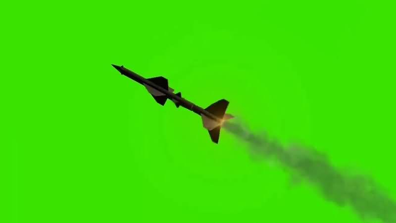 绿幕视频素材导弹