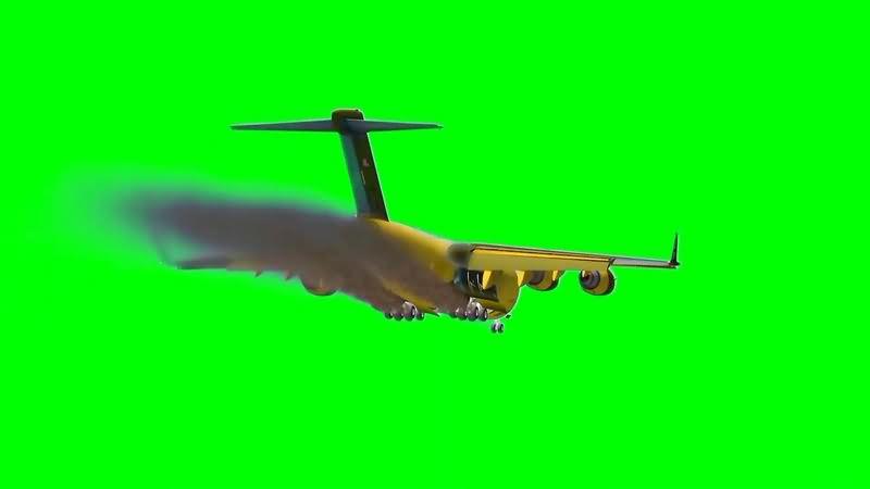 绿幕视频素材飞机失事